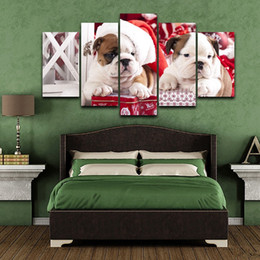 cute paintings NZ - Unframed Wall Art Modular Canvas Painting Living Room 5 Panels Christmas Cute Dog HD Printed Modern Poster Home Decoration
