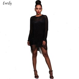 sexy ladies sweaters Canada - Latest Sexy Ladies Hollow Out Long Sleeve Knitted Crochet Sweater Dress Women Mini Club Dress Bodycon Party Vestidos