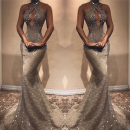 Long prom dresses stones online shopping - Halter Mermaid Long Prom Party Dresses Lace Beaded Stones Cut Away Floor Length Evening Gowns Vestidos De Festa