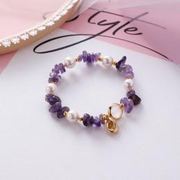 $enCountryForm.capitalKeyWord Australia - Natural Stone Pearl Conch Elastic Bracelets Bangles for Women girls Korean Sweet lovely colorful Strand Bracelets Jewelry Gifts