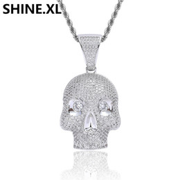$enCountryForm.capitalKeyWord UK - Hip Hop Iced Out Skull Head Pendant Necklace Micro Paved Zircon Charm Men Jewelry Christmas Gifts