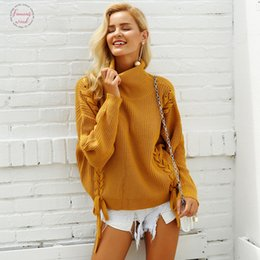 Lace puLL online shopping - Winter Side Lace Up Sweaters Woman Turtleneck Batwing Sleeve Loose Pullover Casual Women Jumper Pull Femme