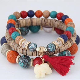 Wooden jeWelry sets online shopping - Wooden Beads Bracelets For Women Bohemia Elephant Tassel Charm Bracelets Bangles Set Boho Vintage Jewelry Femme Jewelry