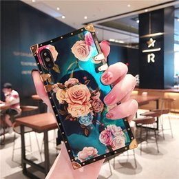 girly iphone cases Australia - Case For Samsung Note 10 Pro S10 S9 Plus Cover Square Blue Ray Flower Vintage Girly Coque For iPhone 11 Pro Max 7 8 Plus Case
