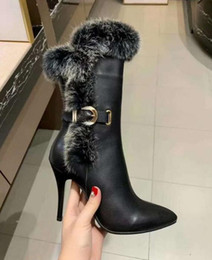 $enCountryForm.capitalKeyWord UK - Luxury New Womens High Heel 10CM Winter Snow Knight Cow Leather Half Cony Hair Pointed Toes Boots Size 35-40