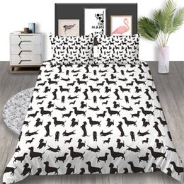 dog print duvet sets UK - Cartoon Dogs Bedding Set Pet Cute Fashionable Duvet Cover Queen King Twin Full Single Double Comfortable Bed Cover with Pillowcase