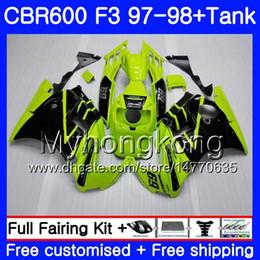 Honda Cbr F3 Fairings Australia - Body +Tank For HONDA CBR 600 FS F3 CBR600RR CBR 600F3 97 98 290HM.11 CBR600 F3 97 98 Light green black CBR600FS CBR600F3 1997 1998 Fairings