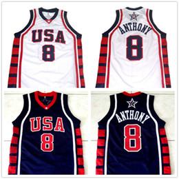 3be712551 2004 Olympics Team USA Carmelo Anthony  8 Retro Basketball Jersey Mens  Stitched Custom Any Number Name Jerseys