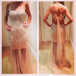 $enCountryForm.capitalKeyWord Australia - Beaded Sheath Prom Dresses 2019 See Through vestidos de gala Sexy Backless Party prom Dress Red Carpet Evening Gowns