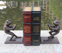 Antique office desks online shopping - 2 Pieces Vintage Cast Iron Book Ends Bookend Rustic Frog Book Stand Table Desk Study Home Office Decor Antique Animal Craft Metal Brown