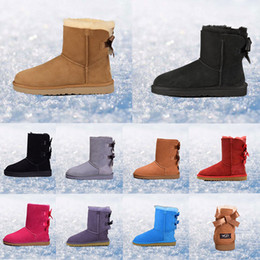 PurPle knee boots online shopping - 2019 women boots Australia Classic snow Boots WGG tall real leather Bailey Bowknot girl winter desinger Keep warm size