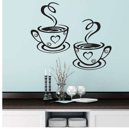 Discount restaurant coffee cups - Two coffee cups Kitchen Bar Wall Sticker for living room Restaurant Background Art Decals stickers wallpaper home decora