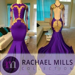 Gold Shirts For Girls Australia - Charming Purple Prom Dresses 2019 High Neck African Style Gold Evening Gowns For Black Girls Long Sleeve Sweep Train Formal Dress
