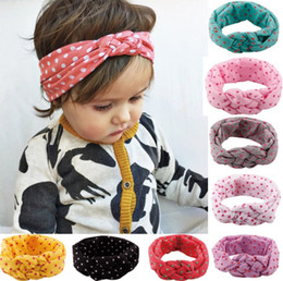 Cotton Knot Headbands Australia - Children's Hair accessories pokla dots Baby Girls Knitted Cross Hair Band Hand-made Safe Knot Band Cotton Elasticity headband