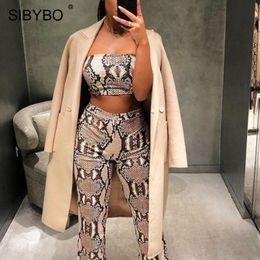 $enCountryForm.capitalKeyWord Australia - YIBO Snake Skin Print Strapless Sexy Two Piece Set Women Off Shoulder Autumn Crop Top and Pants Set Casual Women Tracksuit Party