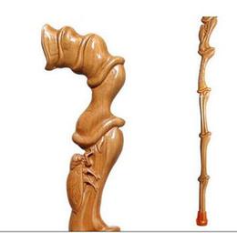 $enCountryForm.capitalKeyWord Australia - Peach Old man cane Solid wood anti-skid faucet manual carving Wooden crutch walking birthday gift mahogany wood stick