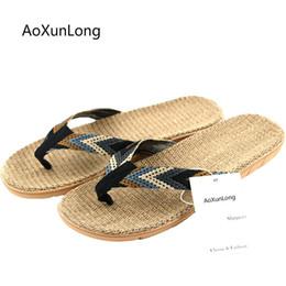 57a9f388b623 AoXunLong New Summer Men Linen Flip Flop Striped Flat EVA Non-Slip Linen  Slides Home Slipper Leisure Straw Outdoor Beach Shoes