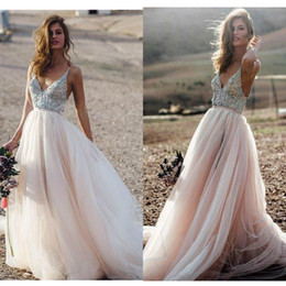 light coral wedding dresses Canada - Country Style 2019 Wedding Dresses Light Pink Spaghetti Straps V Neck Appliques Beads Bride Dress Backless Vestido De Novia Playa Gowns