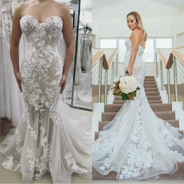 $enCountryForm.capitalKeyWord NZ - Gorgeous 2019 Wedding Dresses Mermaid Sweetheart Applique Lace Backless Sweep Train Plus Size Beach Berta Bridal Gowns