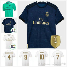 blue real madrid s soccer jersey NZ - New 2019 Real Madrid home Soccer Jersey 2020 Real Madrid away blue Soccer shirt 19 20 HAZARD MODRIC ASENSIO ISCO KROOS Football uniform