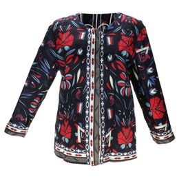 ladies leather jackets Australia - Vintage 3 4 Sleeve Ethnic Floral Printed Short Coat Ladies Thin Jacket Outwear S-2XL Size