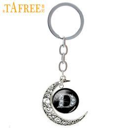 Picture Rings Australia - TAFREE Bling Bling Art Letter D Picture Moon Pendant Keychain Fashion Vintage Key Rings Key Chain Men Women Wedding Jewelry T362