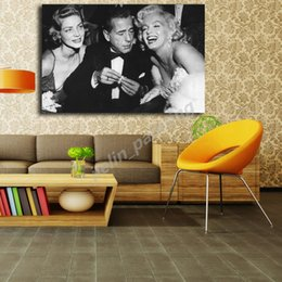 16x24 painting Australia - Marilyn Monroe With Humphrey Bogart And Lauren Bacall Canvas Posters Prints Wall Art Painting Decorative Picture