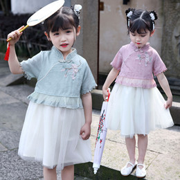 Wholesale ancient chinese clothes for sale - Group buy Girls Hanfu New Style Chinese Summer Dresses For Girls Short Sleeve Embroidered Lace Clothes Ancient Princess Costume DQL2388