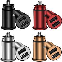 $enCountryForm.capitalKeyWord Australia - Zinc Alloy Dual usb ports 3.1A Metal Usb Car Charger For iphone 7 8 x samsung gps mp3 tablet pc