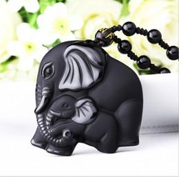 Discount necklace elephant animal - new elephant Pendant Natural obsidian Vintage Necklace Black elephant Head Pendant For women&men Jade Jewelry
