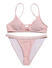 Chinese  2019 women Bikini New Split Swimming Suit with Triangle Ribbon Pure Sexy Bikini,Cheap swimming Sports swimwear flexible stylish manufacturers