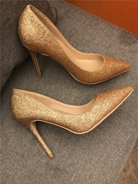 bride leather wedding shoes Australia - Free shipping fashion women pumps Gold Glitter point toe high heels thin heel shoes genuine leather Bride party shoes wedding shoes