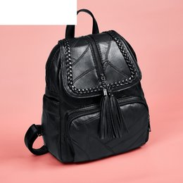 Styles Backpacks Australia - good quality High Quality Pu Leather Woman Backpack With Tassel Simple Solid Color Female Rucksack Casual Style Female Travel Bag