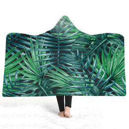 leaf bedding UK - 3D leaves Hooded Blanket Sherpa Fleece Wearable plush Throw Blanket on Bed Sofa Thick warm B120