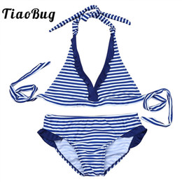 teens suits 2019 - TiaoBug Kids Teens Blue Striped Tankini Swimsuit Swimwear Strappy Halter Swim Tops with Briefs Bikini Set Bathing Suit B