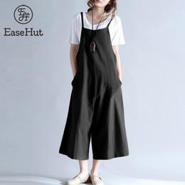 Blue Plus Size Jumpsuit Australia - Easehut 2019 Plus Size Women Cotton Pockets Long Wide Leg Romper Strappy Dungaree Overalls Casual Loose Solid Jumpsuit Trousers C19040301