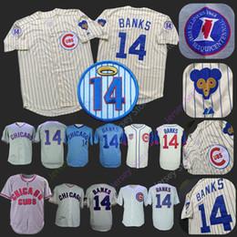8d7f7921a Chicago Ernie Banks Jersey Home Away 1968 1969 Baseball Cubs Jerseys Cream  Pinstripe Blue White Grey Men size M-3XL