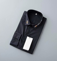 $enCountryForm.capitalKeyWord Australia - Fashion Brand spring and autumn men long-sleeved cotton Black White shirt embroidery Solid male Casual Shirts Tops Blouse