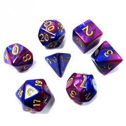 rpg dice set Canada - 7pcs Dice Set with Nebula effect poker d&d d4 d6 d8 d10 d% d12 d20 Polyhedral TRPG Games Dungeons & Dragons rpg game dice