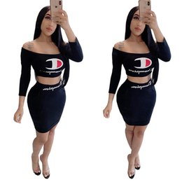 Wholesale S XL Women champions Print Tracksuit Summer Off shoulder T Shirt Tight Skirt Piece Dress Set Bodycon Outfit Club Party Clothes A5601