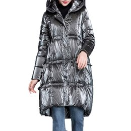 Womens Parkas Australia - Patent Leather Glossy Winter Down Jacket Women Hooded Long Down Parka Series Straight Womens waterproof Coats cotton outwear 192