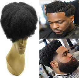 Jet Black Lace Wigs Australia - Mens Hairpieces Afro Curl Human Hair Full Lace Toupee Jet Black Color Peruvian Virgin Remy Hair Men Hair Replacement Toupee for Black Men