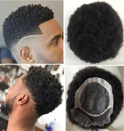 hair toupee wig UK - Men Hair System Wig Mens Hairpieces Afro Curl Front Lace with Mono NPU Toupee Jet Black Indian Virgin Human Hair Replacement for Men