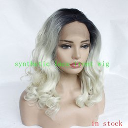 China High Quality Cheap Ombre Wigs 1B 613# Short Bob Curly Wavy Lace Front Wigs Heat Resistant Synthetic Lace Front Wig for Black Women suppliers