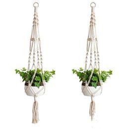 Wholesale Plant Hangers Macrame Rope Pots Holder Rope Wall Hanging Planter Hanging Basket Plant Holders Indoor Flowerpot Basket Lifting LXL1039-1