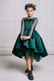 $enCountryForm.capitalKeyWord Canada - New Design Green Satin High Low Flower Girl Dress For Wedding Illusion Long Sleeves Sheer Neck Custom Made Kids Pageant Gowns