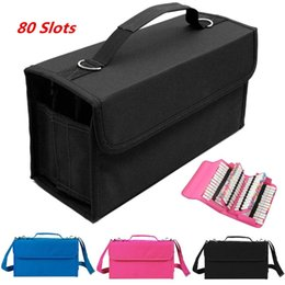 China 80 Slots Multi-Layers Art Markers Pens Storage Case Holder Portable Carrying Bag Outdoor School Painting Tools Storage Organizer supplier marker cases suppliers