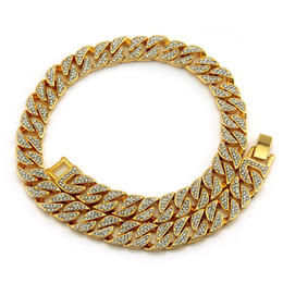Luxury Chains Australia - Mens Full Diamond Bling Cuban Link Chain Necklace 13mm 14k Gold Iced Out Designer Luxury Hip Hop Choker Chains Rapper Jewelry Gifts for Guys