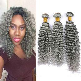 Peruvian Human Hair For Sale Australia - Grey Deep Wave Human Hair Bundles 3Pcs Deals Sliver Grey Deep Wave Curly Peruvian Virgin Hair Weft Gray Hair Extension For Sale