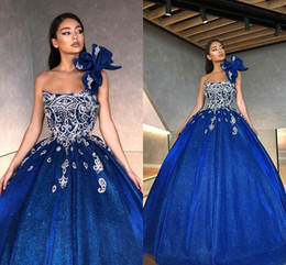 Wholesale beads embroidery necklines for sale - Group buy 2020 New Embroidery Beaded Prom Party Dress Vestidos De Quinceanera Unique Strapless Neckline Glitter Tulle Sweet Dress Princess Ball